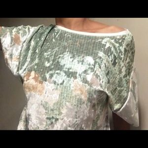 ZARA Floral Print Velvet Blouse Size S